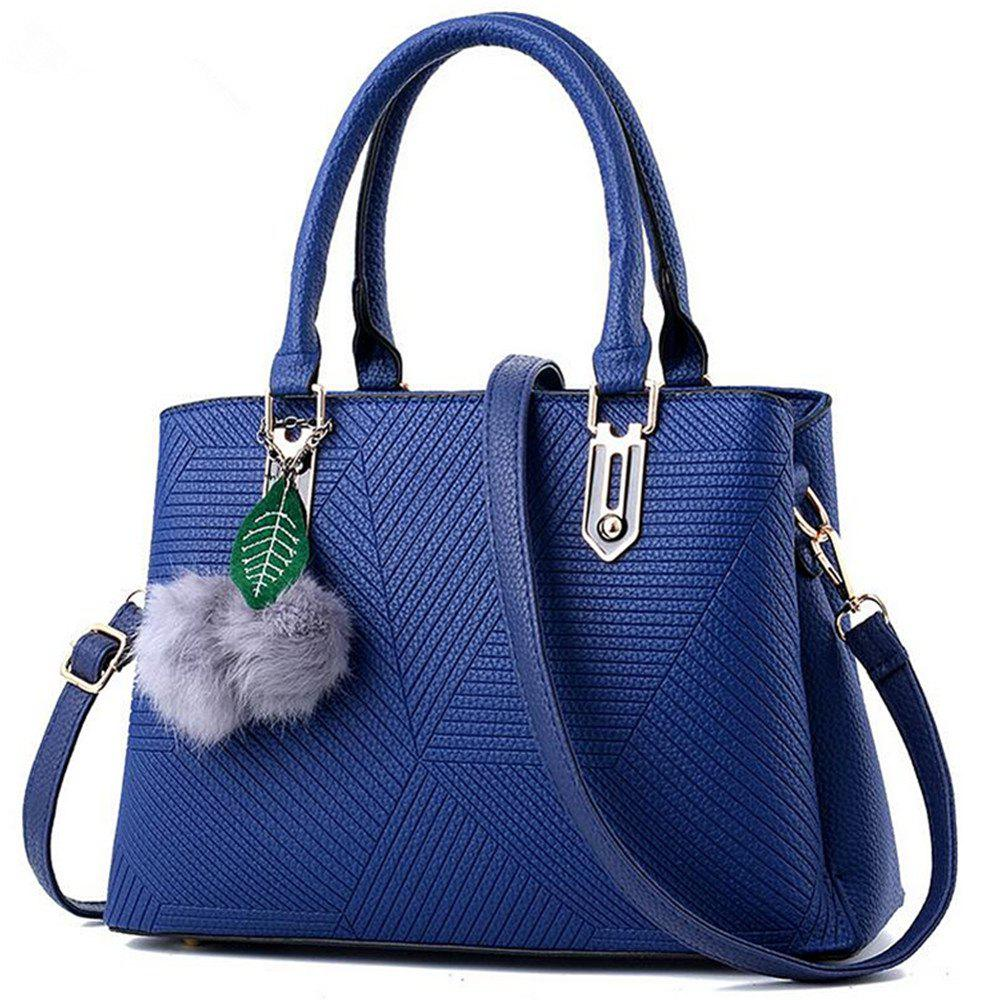 Diagonal Hollow Lady Single Shoulder Bag with a Pendant - CERULEAN