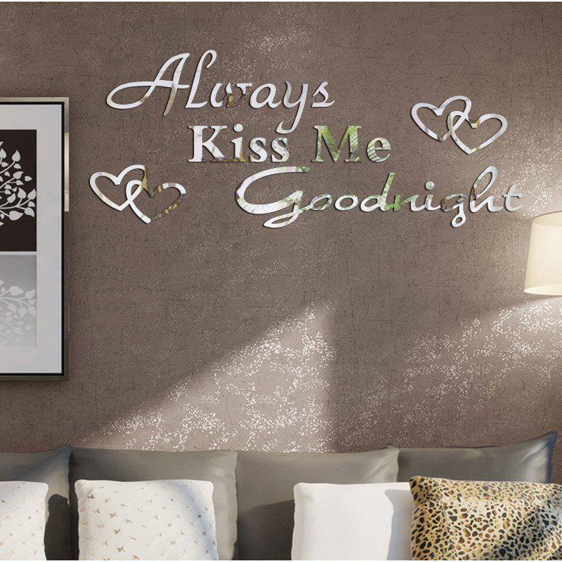 DIY Good Night Mirror Wall Stickers for Wall Decor fashion letters and zebra pattern removeable wall stickers for bedroom decor