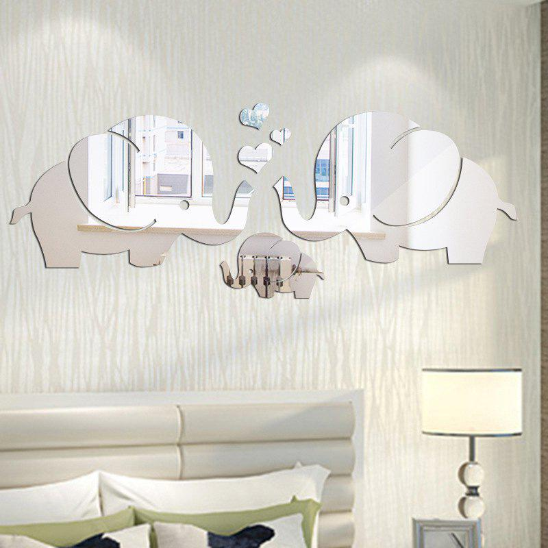 DIY Elephant Family Mirror Wall Stickers for Wall Decor