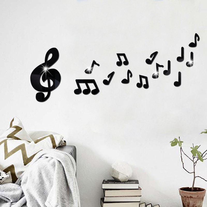 DIY Music Note Mirror Wall Stickers for Wall Decor fashion letters and zebra pattern removeable wall stickers for bedroom decor