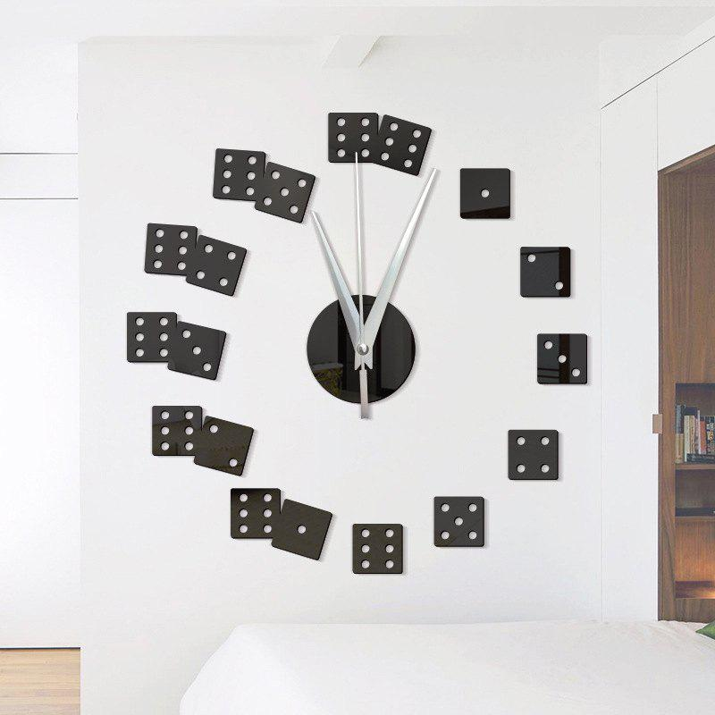 DIY Dice Acrylic Mirror Wall Stickers Wall Clock Stickers - BLACK