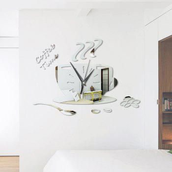 DIY Coffee Time Acrylic Mirror Wall Stickers Wall Clock Stickers - SILVER SILVER