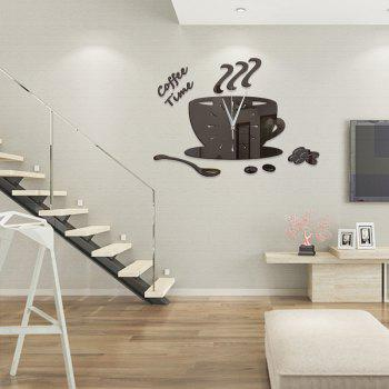 DIY Coffee Time Acrylic Mirror Wall Stickers Wall Clock Stickers - BLACK BLACK