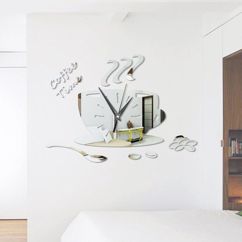 DIY Coffee Time Acrylic Mirror Wall Stickers Wall Clock Stickers - SILVER