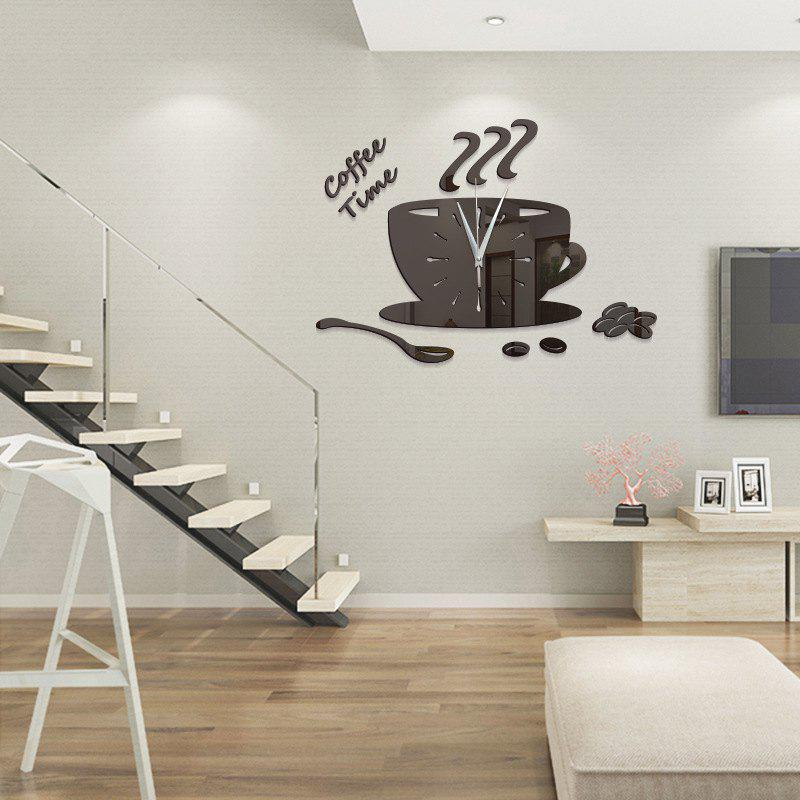 DIY Coffee Time Acrylic Mirror Wall Stickers Wall Clock Stickers - BLACK