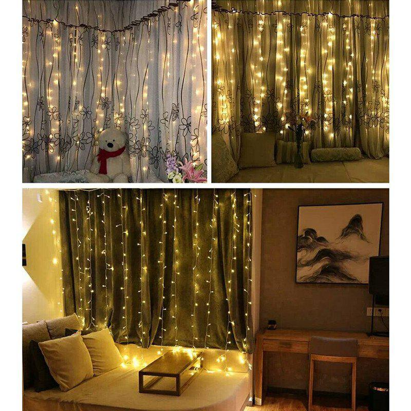 KWB LED Window Curtain Icicle Lights 300 LED String Fairy Lights 118.11 x 118.11 Inch 8 Modes White Christmas / Thanksgiving / Wedding / Party Backdrops 20m 200 stars christmas fairy string lights window led room home garden party holiday decoration star lighting string