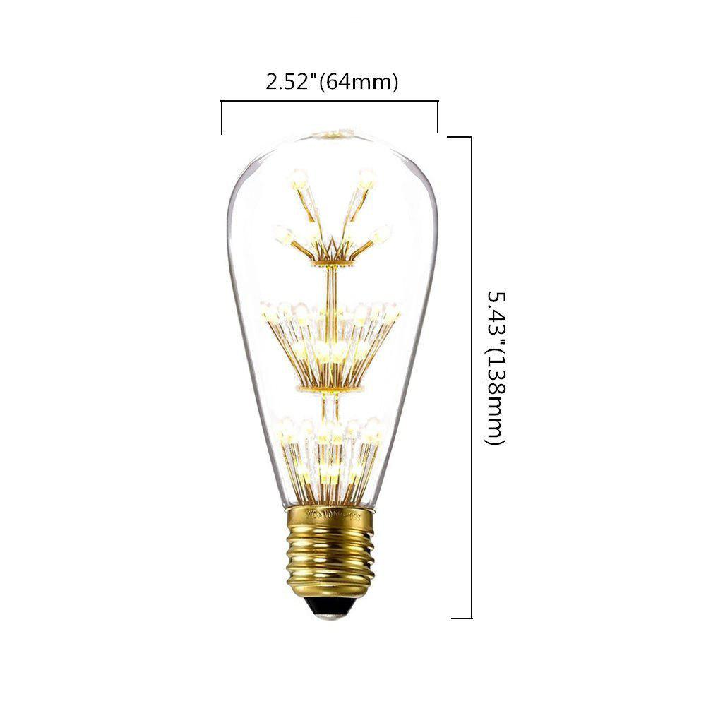 SUPli 1Pack Vintage Edison Bulbs AC 220V - 240V 3W Bright Starry Style Squirrel Cage Light Bulb for Home Lamp Lighting Fixtures Decorative Antique Filament Nostalgic Glass E27 Medium Base Warm Yellow - CLEAR WHITE