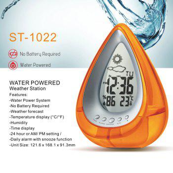 Eco Alarm Water Power Clock - Orange