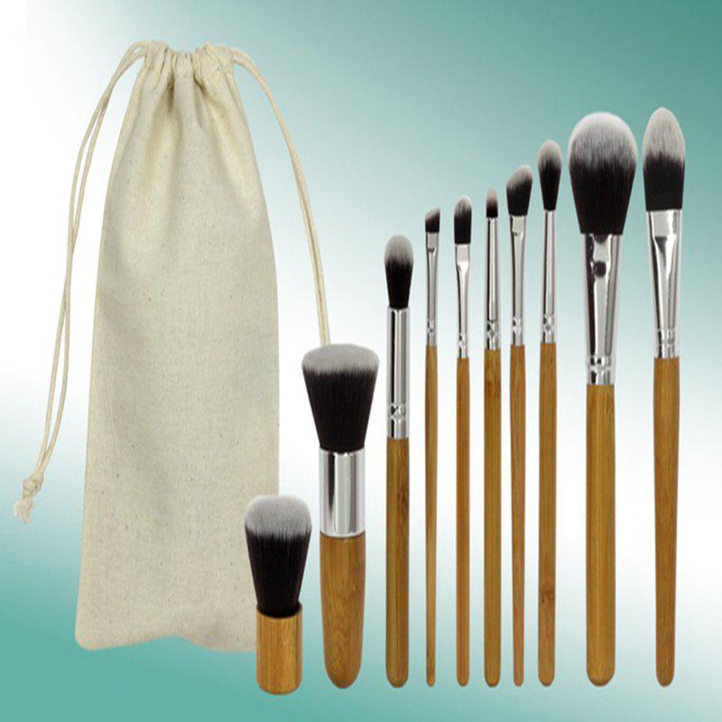 TODO 10pc Bamboo Pro Makeup Brush Set with Storage Pouch - ORIGINAL WOOD COLOR