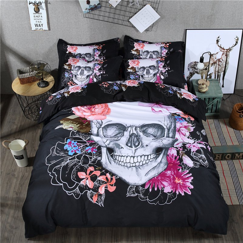 2pcs Fashion Personalized 3D Polyester  Bedding Set Twin - BLACK