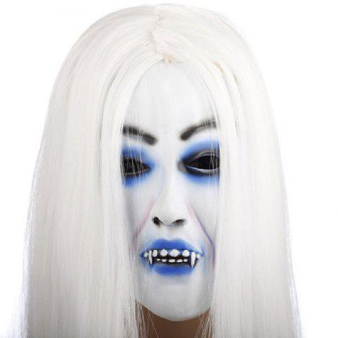 Yeduo Horrible Toothy White Long Hair Ghost Face Latex Soft Mask Halloween Party Prop Costume Mus - multicolorCOLOR