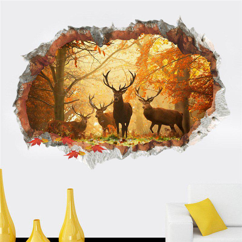 Home Decoration 3D Broken Wall Elk Forest Removable Wall Stickers for Decor halloween decoration horror witch removable wall stickers for wall decor