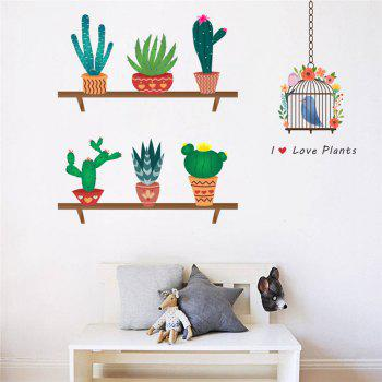 Home Decoration New Cartoon Cactus Bird Cage Wall Stickers for Decor
