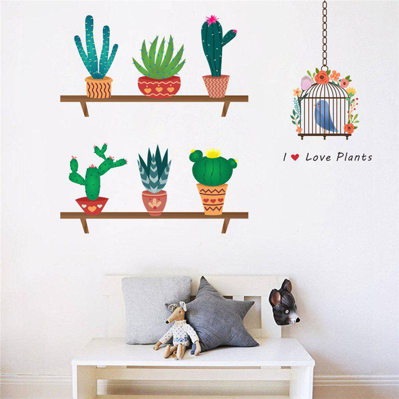 Home decoration new cartoon cactus bird cage wall stickers for decor colormix