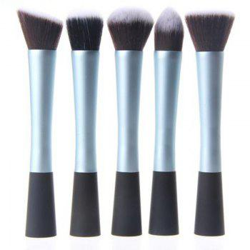 TODO 5PCS Pro Duo-Fiber Face Makeup Brush Multi Task Set - BLUE BLUE