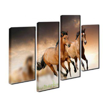 Yhhp 4 Panels Running Horse Picture Print Modern Wall Art On Canvas Unframedframed - BLACK/ORANGE 30 X 60CM X 2+30 X 80CM X 2
