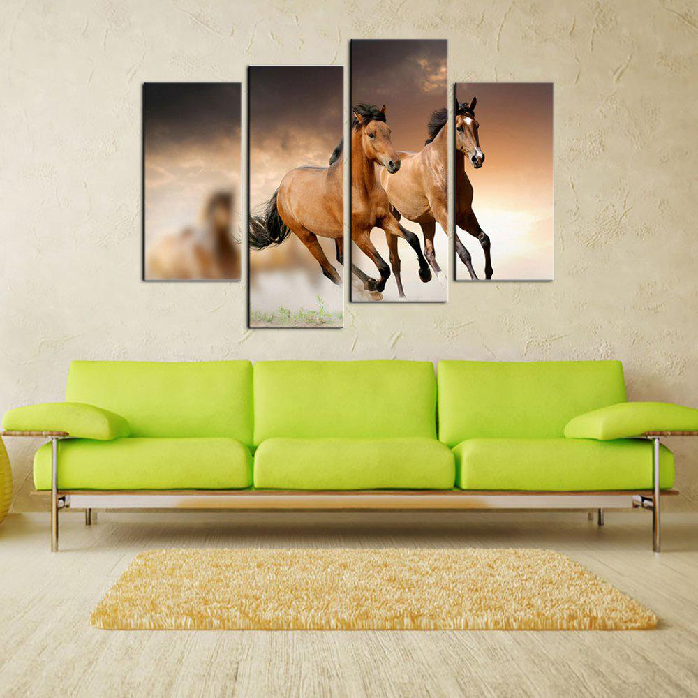 Yhhp 4 Panels Running Horse Picture Print Modern Wall Art On Canvas Unframedframed