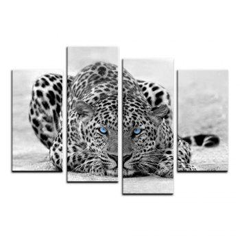 Yhhp 4 Panels Leopard On The Ground Picture Print Modern Wall Art On Canvas Unframed - BLACK WHITE