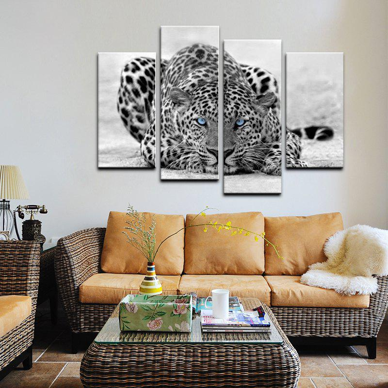 Yhhp 4 Panels Leopard On The Ground Picture Print Modern Wall Art On Canvas Unframed