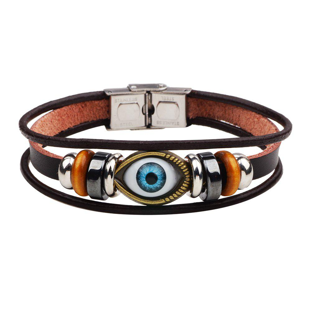 Delicate Turkish Blue Evil Eye Bead Charm Leather Wrap Bracelet - BROWN