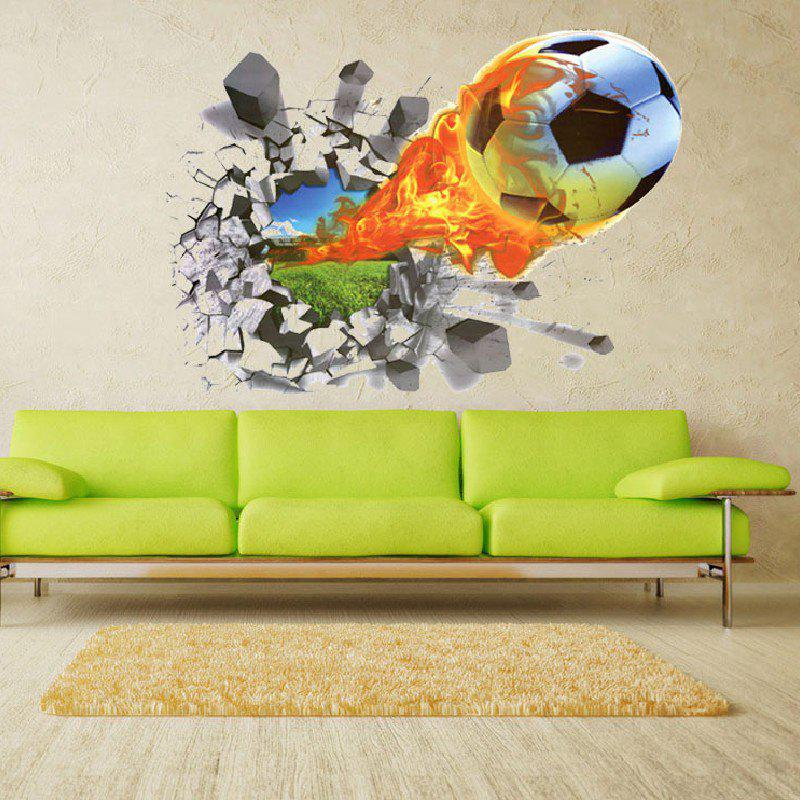 Yeduo 3D Football Soccer Fire Playground Broken Wall Hole Window View Home Decals Sticker horse in the sunset window view removable wall sticker