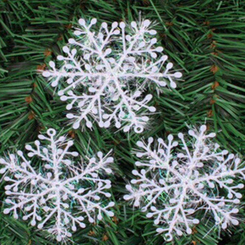 XM1 12PCS Christmas Decoration White Snowflake Ornaments 8.5CM - WHITE