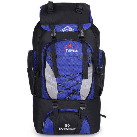 Fengtu 80L Outdoor Large Capacity Mountaineering Bag Nylon Mens Package Hiking Camping Backpacks Womens Traveling Bags - BLUEBELL