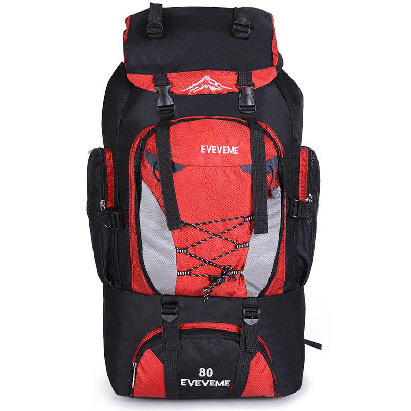 Fengtu 80L Outdoor Large Capacity Mountaineering Bag Nylon Mens Package Hiking Camping Backpacks Womens Traveling Bags - RED