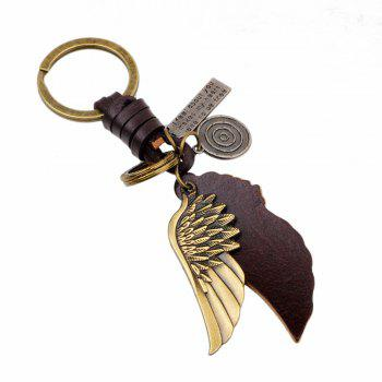 Personalized Bronze Tone Angel Wing Shaped Pendant Keychain - BRONZED BRONZED