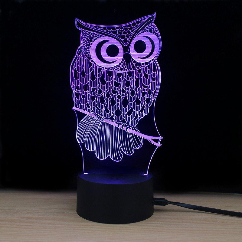 Shining Td182 Led Lamp 7 Color Changing LED 3D Lamp Owl Touch Atmosphere Night Light - COLORFUL