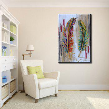 YHHP Hand Painted Abstract Feather Decoration Canvas Oil Painting