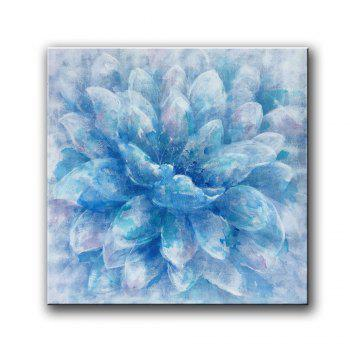 Yhhp Hand Painted Abstract Blue Flower Decoration Canvas Oil Painting