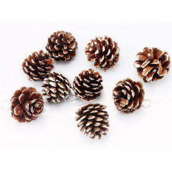 XM1 9PCS Natural Pine Cone Christmas Trees Decoration 5CM - WHITE WHITE
