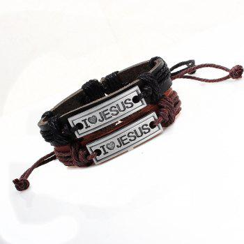Religion Jewelry Christian Engraved I Love Jesus Leather Bracelet - BLACK