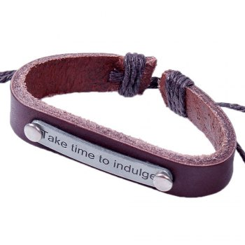 Fashion Statement Alloy Charm Adjustable Rope Leather Bracelet - BROWN