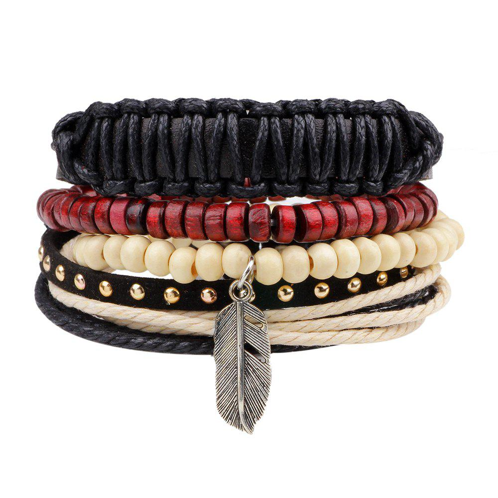 Boho Feather Charm Leather Multi Strand Wood Beads Bracelet