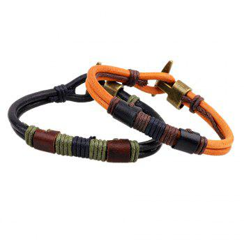 Vintage Hook Clasp Design Wire Wrap Leather Wristband Bracelet - ORANGE