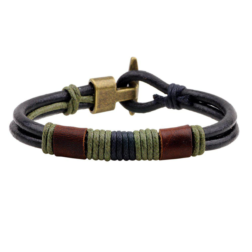 Vintage Hook Clasp Design Wire Wrap Leather Wristband Bracelet - GREEN