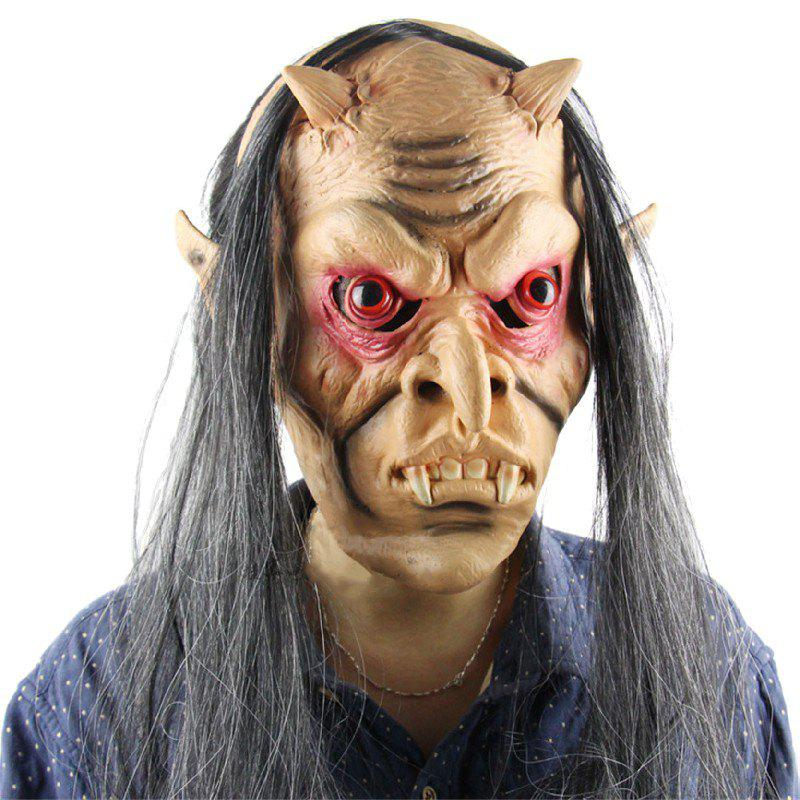 Yeduo Halloween Horror Masks Scary Mask Halloween Toothy Zombie with Long Hair Devil Ghost - multicolorCOLOR