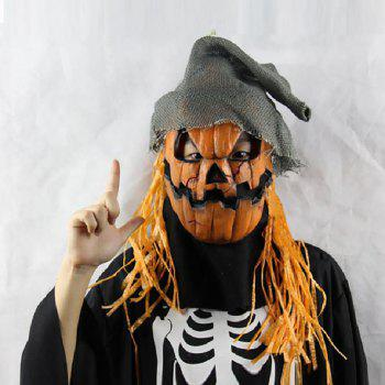 Yeduo Halloween Mask Pumpkin Scarecrow Creepy Latex Realistic Crazy Rubber Super Creepy Party Halloween Costume Mask - COLORMIX
