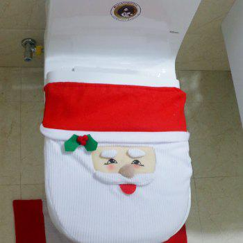 Yeduo New Year Best Gift Happy Christmas Santa Toilet Seat Cover Rug Bathroom Decorations - COLORMIX
