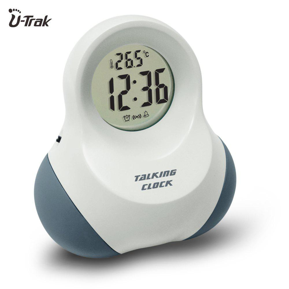 Smart Talking Digital Alarm Clock with Snooze System Tim e/ Date / Temperature Display Vibration Activated (28 Languages Can Be Selected) - SNOW WHITE