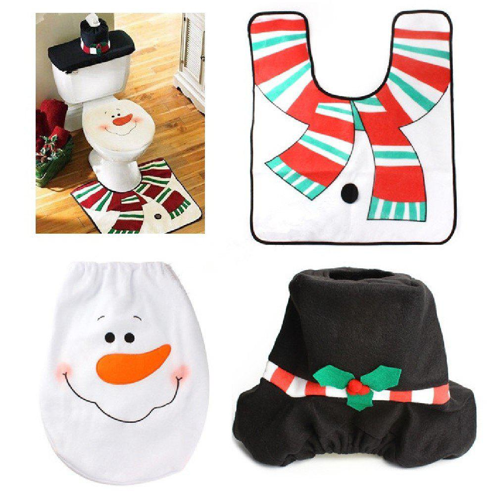 Yeduo 1 Sets Christmas Decorations Xmas Toilet Seat Cover Rug Washroom SSnowman Decorative Lids Covers