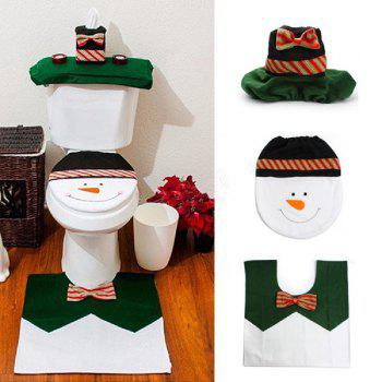Yeduo 1 Sets Happy Snowman Christmas Bathroom Set Toilet Seat Cover Rug Xmas Decoration Year Decorations - COLORMIX COLORMIX