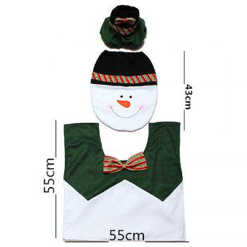 Yeduo 1 Sets Happy Snowman Christmas Bathroom Set Toilet Seat Cover Rug Xmas Decoration Year Decorations - COLORMIX