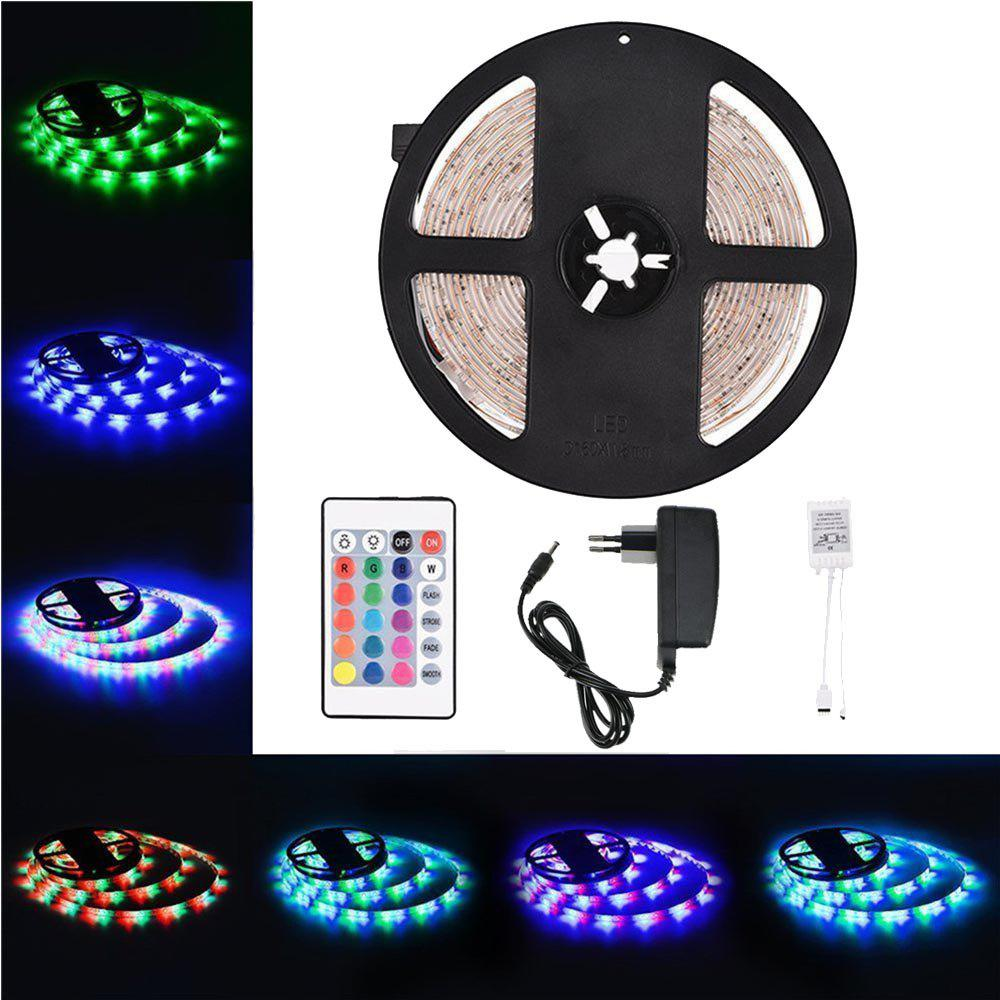 Supli 5M Waterproof Flexible Strip Smd 3528 Rgb 300LEDS with 44KEY Ir Remote Controller And 12V 3A Power Supply waterproof 300 3528 smd led rgb flexible strip w 24 key controller 12v 5m