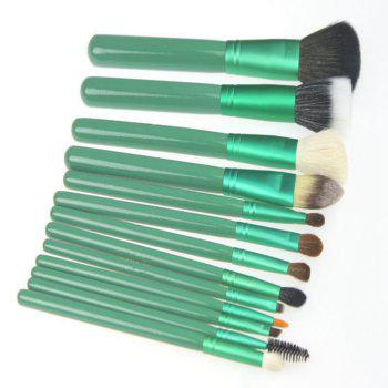 Todo 12X professional Makeup Brush with Cup Holder Case - GREEN GREEN