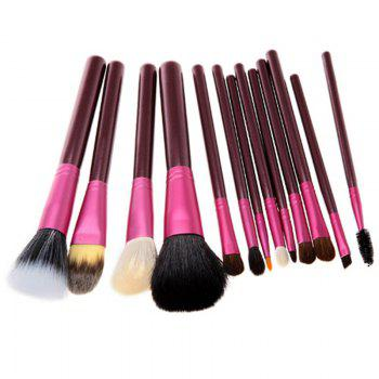 Todo 12X professional Makeup Brush with Cup Holder Case - PURPLE RED PURPLE RED