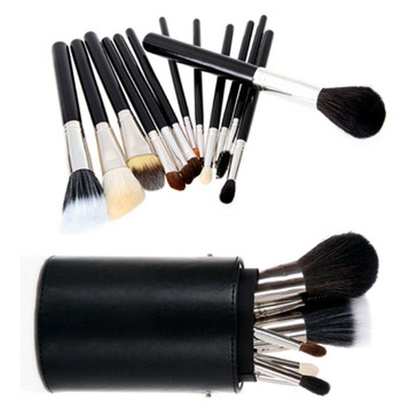 Todo 12X professional Makeup Brush with Cup Holder Case - BLACK COLOR