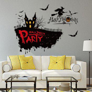 Halloween Horror Witch On The Broom Decor Decals for Home Party
